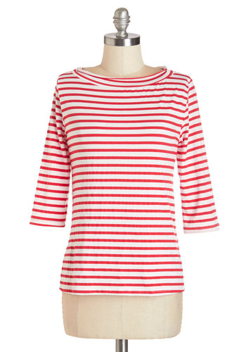 Lines Around the Block Top in Red - Mid-length, Knit, Red, White, Stripes, Casual, Nautical, French / Victorian, 3/4 Sleeve, Spring, Summer, Exclusives, Red, 3/4 Sleeve, Variation, Work
