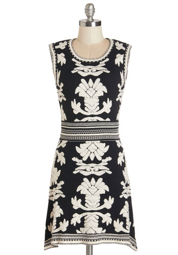 Theme Work Dress - Short, Knit, White, Print, Casual, Shift, Sleeveless, Better, Scoop, Black, Work, Fall, Sweater Dress