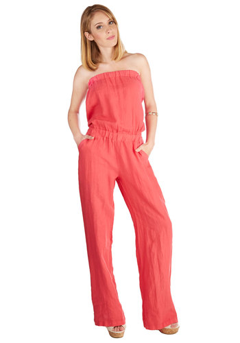 Casual Occasion Jumpsuit - Spring, Summer, Good, Full length, Blue, Jumpsuit, Long, Woven, Pink, Solid, Pockets, Casual, Beach/Resort, Strapless