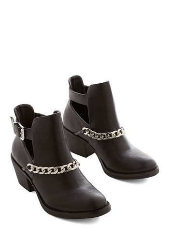 The Chain You Wish to See Bootie - Mid, Faux Leather, Black, Solid, Buckles, Chain, Better, Urban