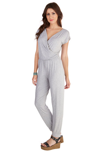 Friday Favorite Jumpsuit - Good, Capri, Grey, Jumpsuit, Long, Jersey, Knit, Grey, Solid, Casual, Short Sleeves