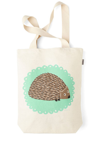 The Crowd Goes Wilderness Tote in Hedgehog - Multi, Print with Animals, Casual, Quirky, Critters, Cotton, Travel, Woodland Creature