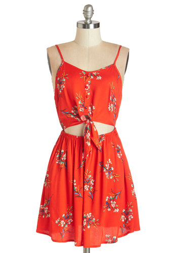 Relish the Romance Dress by Mink Pink - Red, Floral, Buttons, Cutout, Casual, Americana, A-line, Sleeveless, Summer, Woven, Better, Scoop, Mid-length, Multi, Beach/Resort