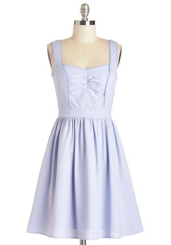 Completely Sweet Dress - Blue, Solid, Trim, Wedding, Daytime Party, Bridesmaid, Pastel, A-line, Sleeveless, Summer, Woven, Better, Sweetheart, Mid-length