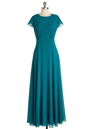 Aquarium Gala Dress - Long, Chiffon, Woven, Blue, Solid, Special Occasion, Wedding, Bridesmaid, Maxi, Cap Sleeves, Better, Beads, Pockets, Exclusives, Homecoming, Full-Size Run