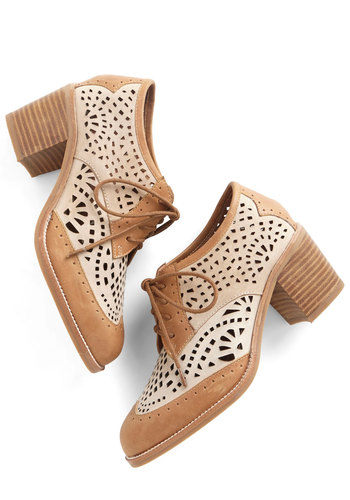 Thoroughly Thrilling Heel by Jeffrey Campbell - Mid, Leather, Tan, Solid, Cutout, Party, Daytime Party, Menswear Inspired, Vintage Inspired, 20s, Best, Lace Up, Chunky heel