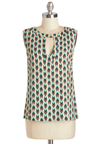 Cool and Curated Top - Mid-length, Woven, Green, Brown, Print, Cutout, Work, Sleeveless, Summer, Multi, Sleeveless