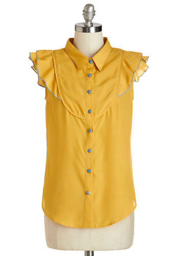 You Got the Upbeat Top - Woven, Yellow, Solid, Buttons, Ruffles, Darling, Collared, Yellow, Short Sleeve, Blue, Trim, Work, Daytime Party, Cap Sleeves