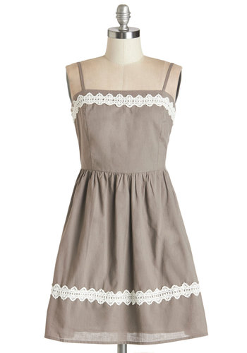 Summer Heyday Dress - Brown, Tan / Cream, Lace, Casual, A-line, Sleeveless, Summer, Woven, Good, Cotton, Trim