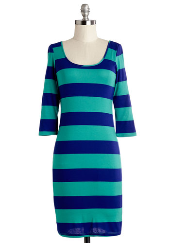 Cool of Thought Dress - Green, Blue, Stripes, Casual, Shift, 3/4 Sleeve, Summer, Knit, Good, Scoop, Mid-length