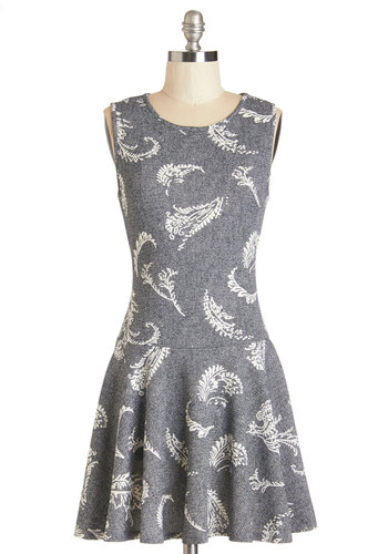 Acoustic Hour Dress - Grey, White, Print, Casual, Drop Waist, Sleeveless, Knit, Better, Scoop, Short