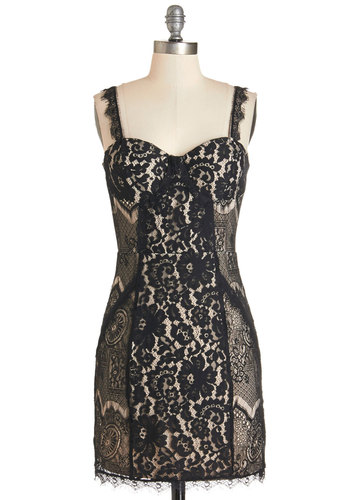 Antiques Auction Dress - Lace, Party, Girls Night Out, Sleeveless, Knit, Better, Sweetheart, Short, Lace, Black, Tan / Cream, Valentine's, Sheath