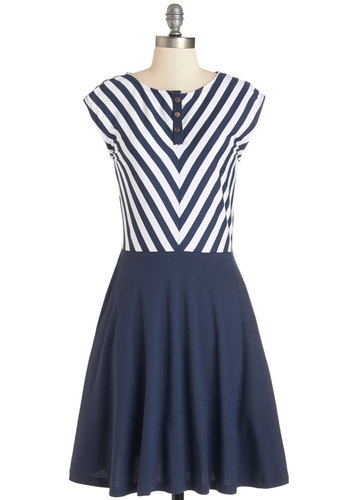 Knots to Love Dress in Navy - Blue, White, Stripes, Buttons, Casual, Nautical, Americana, A-line, Summer, Knit, Better, Scoop, Eco-Friendly, Cotton, Pockets, Cap Sleeves