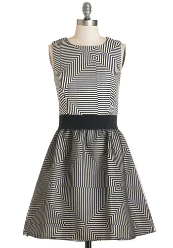 You A-maze Me Dress - Black, White, Print, Party, A-line, Sleeveless, Woven, Better, Scoop, Full-Size Run