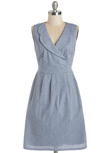 All Eyes on Euchre Dress by Tulle Clothing - Woven, Blue, Solid, Casual, A-line, Sleeveless, Better, V Neck, Americana