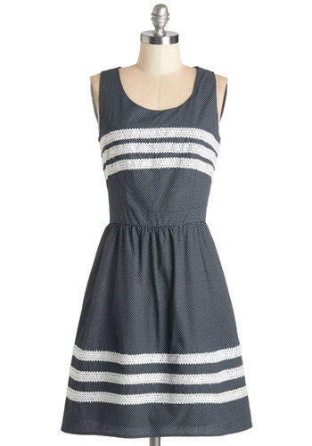 Such a Sweet Surprise Dress - Blue, White, Print, Crochet, Casual, Sundress, A-line, Sleeveless, Summer, Woven, Good, Scoop, Cotton