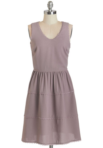 Need We Say Sycamore? Dress - Purple, Solid, Trim, Party, A-line, Sleeveless, Summer, Woven, Good, V Neck, Chiffon, Crochet