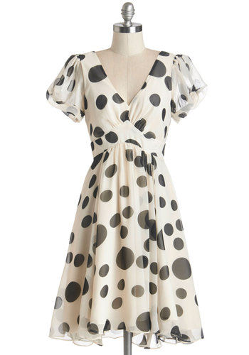 Sweeten the Spot Dress - Black, White, Polka Dots, Daytime Party, Short Sleeves, Woven, Better, V Neck, Mid-length, Chiffon, Ruffles, Fit & Flare
