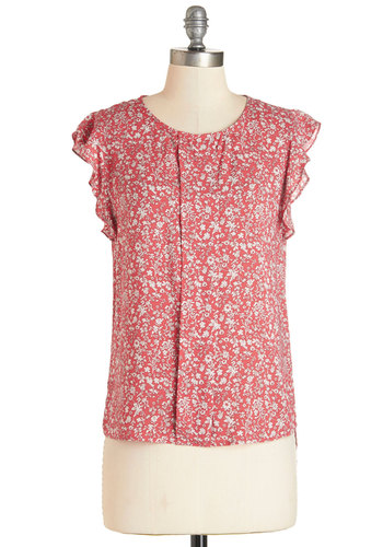 You've Got Me Fleured Top - Woven, Floral, Ruffles, Work, Daytime Party, Darling, Spring, Summer, Chiffon, Scoop, Orange, Short Sleeve, Pink, Cap Sleeves