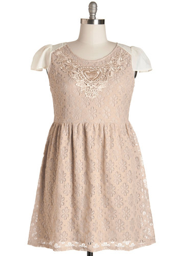 Luster in the Low Light Dress in Plus Size - Woven, Lace, Tan, Solid, Crochet, Special Occasion, Daytime Party, A-line, Cap Sleeves, Better, Scoop