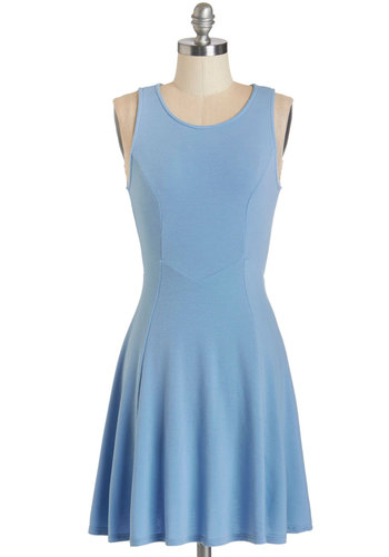 Chime Ready to Go Dress - Blue, Solid, Casual, A-line, Sleeveless, Summer, Knit, Good, Scoop