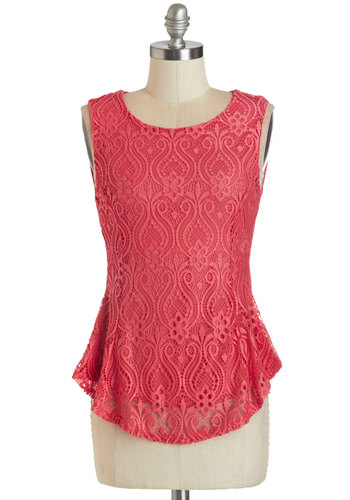 Book Club Brunch Top - Pink, Sleeveless, Mid-length, Knit, Pink, Solid, Crochet, Cutout, Party, Cocktail, Girls Night Out, French / Victorian, Sleeveless, Spring, Summer, Scoop, Work, Daytime Party