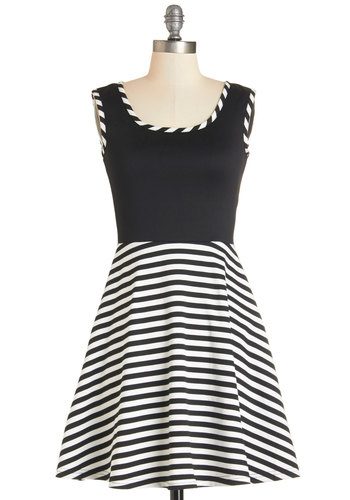Sonata Care in the World Dress - Knit, White, Stripes, Casual, A-line, Better, Scoop, Black, Sleeveless