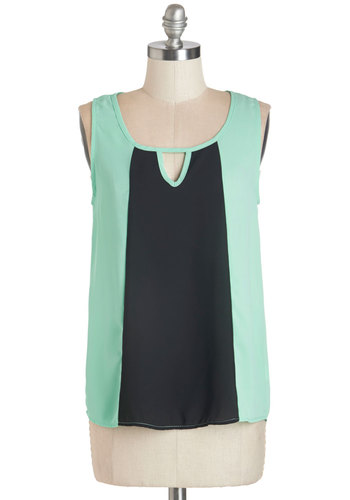 I'll Get Write On It Top - Sheer, Woven, Cutout, Party, Work, 60s, Mod, Colorblocking, Sleeveless, Scoop, Green, Sleeveless, Black, Mint, Vintage Inspired