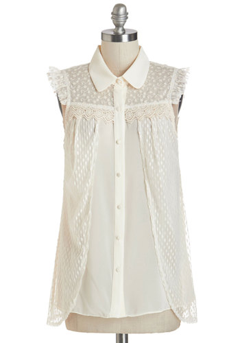 Spontaneous Style Top - White, Short Sleeve, Sheer, Woven, Lace, Cream, Solid, Buttons, Lace, Ruffles, Party, Darling, Sleeveless, Spring, Summer, Collared