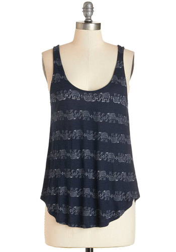 Misty Mountain Shop Tank - Jersey, Knit, Blue, Print with Animals, Casual, Safari, Sleeveless, Summer, Scoop, Blue, Sleeveless