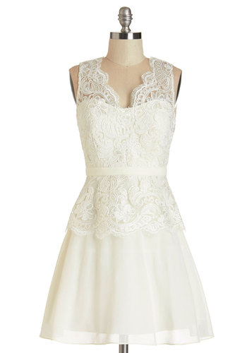 A Perfect Matrimony Dress - White, Solid, Backless, Cutout, Sequins, Special Occasion, Wedding, Bride, A-line, Sleeveless, Better, Woven, Mid-length, Lace, Lace