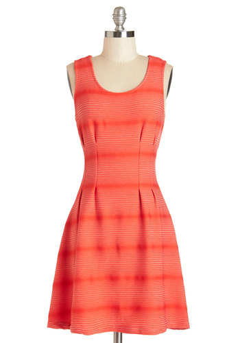 The Brightest Gathering Dress - Red, Stripes, Exposed zipper, Casual, A-line, Sleeveless, Summer, Knit, Good, Scoop