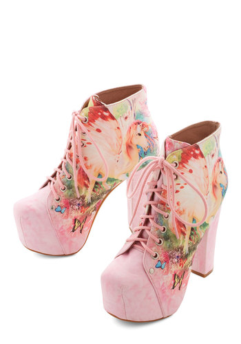 Dream Supreme Bootie by Jeffrey Campbell - High, Pink, Print with Animals, Novelty Print, Party, Statement, Quirky, Best, Lace Up, Multi