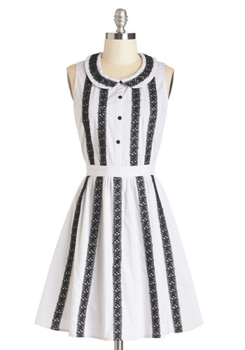 Main Street Mosey Dress - White, Print, Buttons, Crochet, Casual, Nifty Nerd, A-line, Sleeveless, Summer, Woven, Better, Collared, Cotton, White, Peter Pan Collar