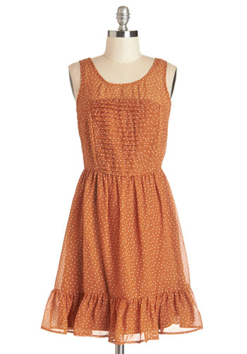 You Autumn Know Dress - Orange, White, Polka Dots, Pleats, Ruffles, Casual, A-line, Sleeveless, Summer, Woven, Good, Scoop, Chiffon