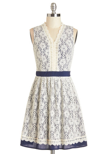 Cherished Chapter Dress - Cream, Blue, Lace, Scallops, Daytime Party, A-line, Sleeveless, Summer, Woven, Lace, Better, V Neck
