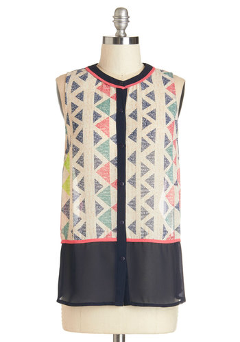 Fierce Fanfare Top - Chiffon, Sheer, Woven, Print, Buttons, Party, Work, Sleeveless, Spring, Summer, Crew, White, Sleeveless, Multi
