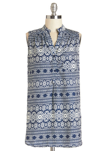 Stupendous Style Tunic - Long, Woven, Blue, Print, Buttons, Pockets, Beach/Resort, Safari, Sleeveless, Spring, Summer, Blue, Sleeveless, White