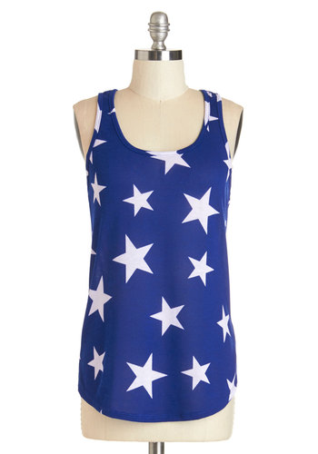 Starry Knit Tank - Blue, Sleeveless, Mid-length, Knit, Blue, Novelty Print, Casual, Beach/Resort, Festival, Americana, Spring, Summer, White, Tank top (2 thick straps), Scoop, Boho