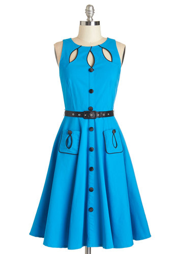 Swell-Heeled Dress in Cerulean A-line - Knit, Blue, Black, Solid, Buttons, Trim, Belted, Casual, Rockabilly, A-line, Sleeveless, Better, Cutout, Long