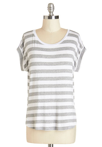 Dockside Day Top in Grey - Mid-length, Jersey, Knit, Stripes, Casual, Beach/Resort, Nautical, Short Sleeves, Scoop, White, Tab Sleeve, Grey, White, Variation