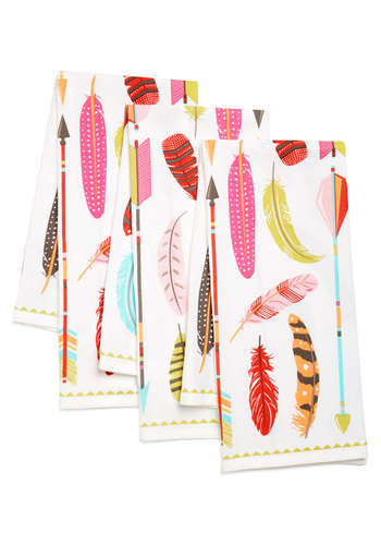 Archery Champ Tea Towel Set - Cotton, Woven, Multi, Boho, Rustic, Good, Novelty Print, Variation, Hostess