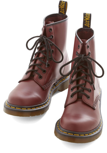 Playing Air Guitar Boot in Rouge by Dr. Martens - Low, Leather, Red, Solid, Menswear Inspired, Vintage Inspired, 90s, Better, Best, Lace Up, Variation, Scholastic/Collegiate