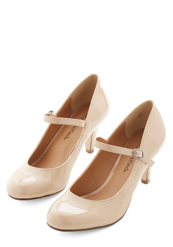 Talk of the Office Heel in Taupe - Faux Leather, Tan, Solid, Prom, Wedding, Party, Work, Cocktail, Daytime Party, Minimal, Good, Variation, Mary Jane, Basic
