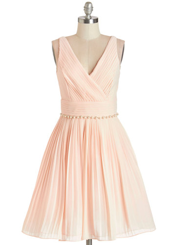 Peach and Every Guest Dress - Pink, Solid, Pearls, Pleats, Rhinestones, Special Occasion, Prom, Wedding, Bridesmaid, Fit & Flare, Sleeveless, Better, V Neck, Summer, Woven, Mid-length, Chiffon, Valentine's, Homecoming