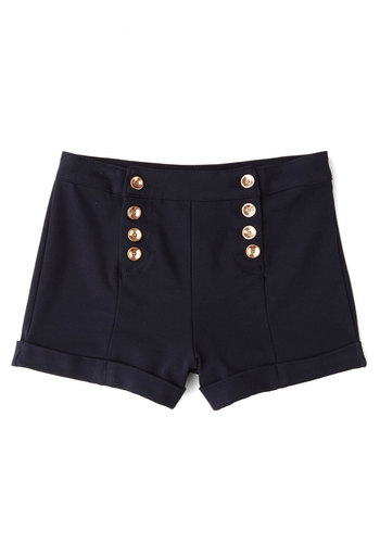 You've Got Sail Shorts - High Waist, Good, High Rise, Blue, Non-Denim, Short, Knit, Black, Solid, Buttons, Nautical, Military, Summer