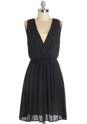 Some May Say Dress - Mid-length, Woven, Black, Tan / Cream, Solid, Lace, Special Occasion, LBD, Sleeveless, Better, Party