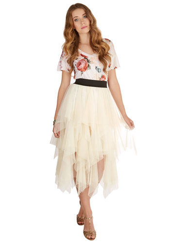 Fashionable Admiration Skirt in Ivory - Maxi, Spring, Summer, Better, White, Long, Knit, Tulle, Cream, Solid, Handkerchief, Ruffles, Tiered, Daytime Party, Fairytale, Ballerina / Tutu
