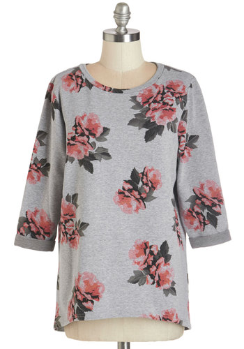 Drinks by the Fireside Top - Knit, Cotton, Grey, Floral, Casual, 3/4 Sleeve, Grey, 3/4 Sleeve, Pink