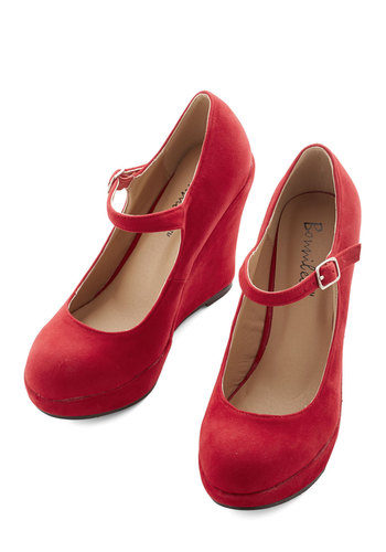 Take the Podium Wedge in Red - Red, Solid, High, Platform, Wedge, Party, Vintage Inspired, 90s, Mary Jane, Variation, Top Rated